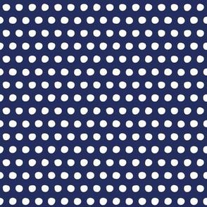 navy white petite polka