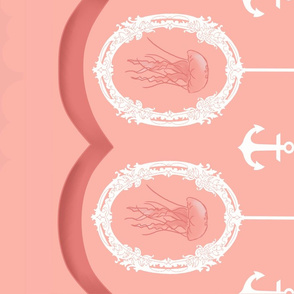 Frilly Jellyfish Border Print-Pink