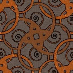 tribal tattoo spiral squares bitter orange