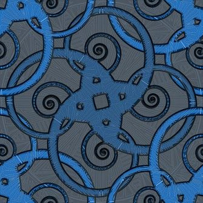 tribal tattoo spiral squares marine blue