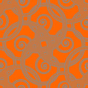 tribal tattoo spiral squares fabulously orange