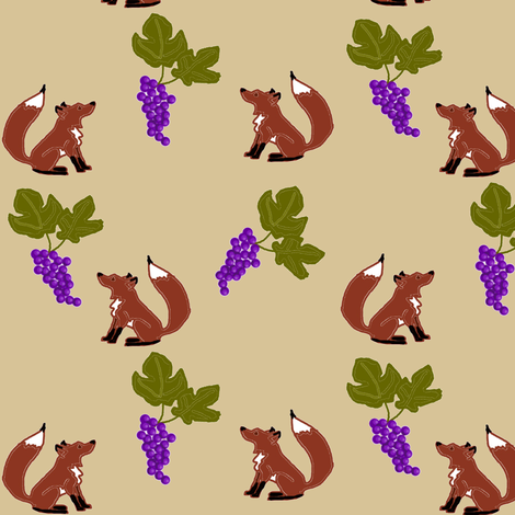 Fox and Grapes fabric by ravynscache on Spoonflower - custom fabric