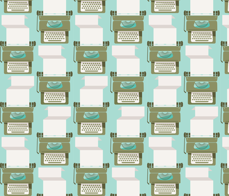 Typewriter_Vintage Mint fabric by kate_legge on Spoonflower - custom fabric