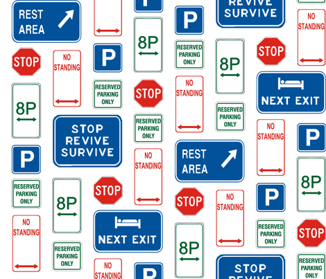 Street Sign Montage - Rest Easy fabric by sarahroberts on Spoonflower - custom fabric