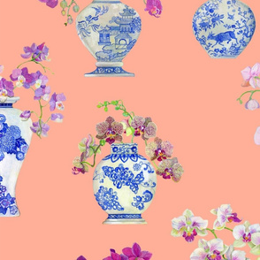 Orchids in Ming Vases_peach_