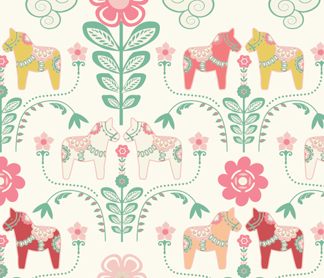 dala_horse_pastel_rose ecru_L fabric by nadja_petremand on Spoonflower - custom fabric