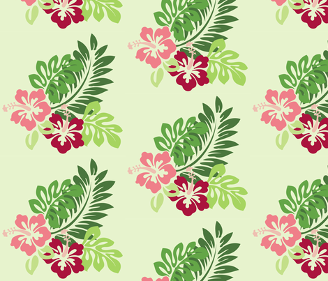 Hibiscus (Green Background) fabric by studiofibonacci on Spoonflower - custom fabric