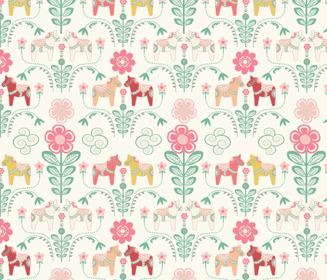 dala_horse_pastel_rose ecru_M fabric by nadja_petremand on Spoonflower - custom fabric