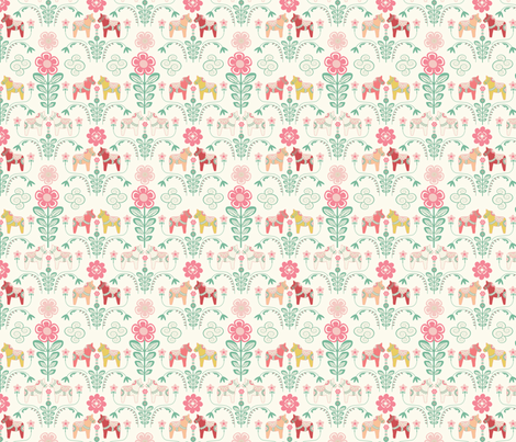dala_horse_pastel_rose ecru_S fabric by nadja_petremand on Spoonflower - custom fabric