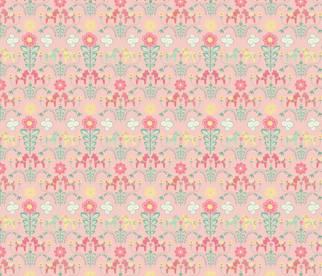 dala_horse_pastel_rose_S    fabric by nadja_petremand on Spoonflower - custom fabric