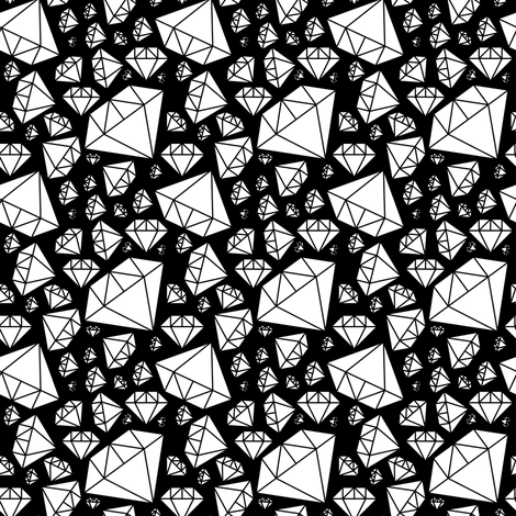 White Diamonds on Black fabric by pencilmein on Spoonflower - custom fabric