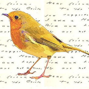 Yellow bird with handwritten letter by Emily Dickenson