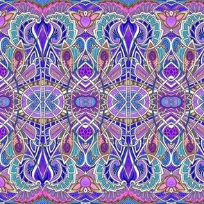 Nouveau Deco Psychedelic Lotus horizontal stripe