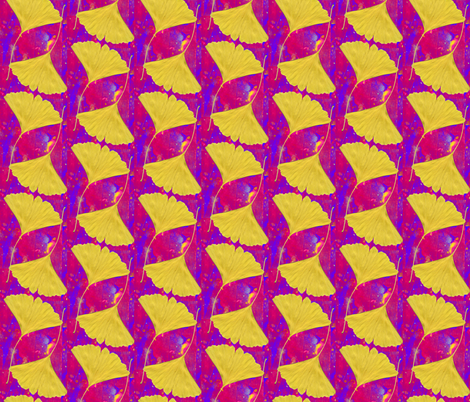Gingko Leaves on Bright Magenta and Blue fabric by bloomingwyldeiris on Spoonflower - custom fabric