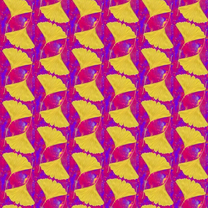 Gingko Leaves on Bright Magenta and Blue