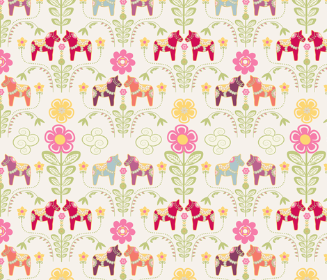 dala_horse_pastel_rose_ecru_M fabric by nadja_petremand on Spoonflower - custom fabric