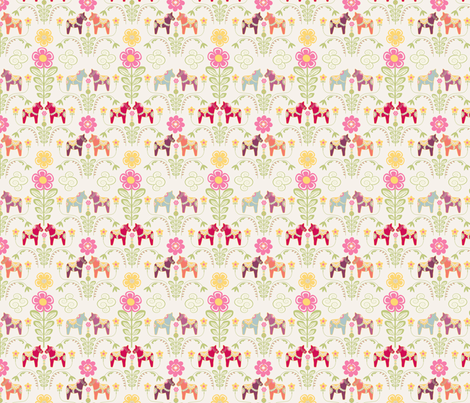 dala_horse_pastel_rose_ecru S fabric by nadja_petremand on Spoonflower - custom fabric
