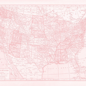Minimalist Pink map of United States-ed