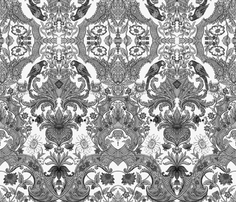 Parrot Damask ~ Black  fabric by peacoquettedesigns on Spoonflower - custom fabric