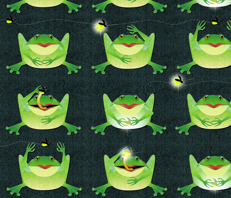 frogs love fireflies large fabric by glimmericks on Spoonflower - custom fabric
