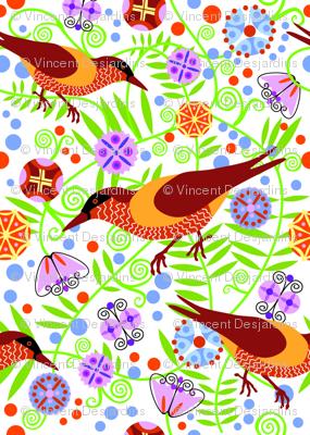 Art Deco Bird and Flowers