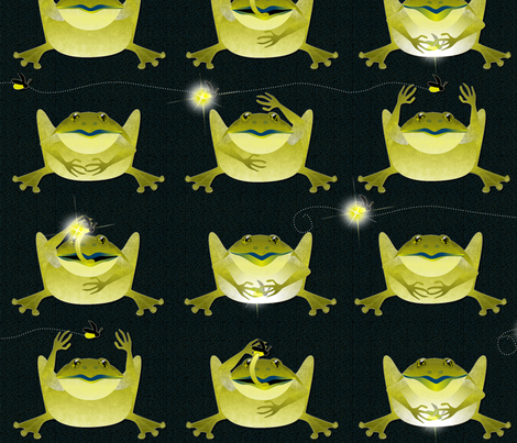 frogs love fireflies SYNERGY0001 fabric by glimmericks on Spoonflower - custom fabric