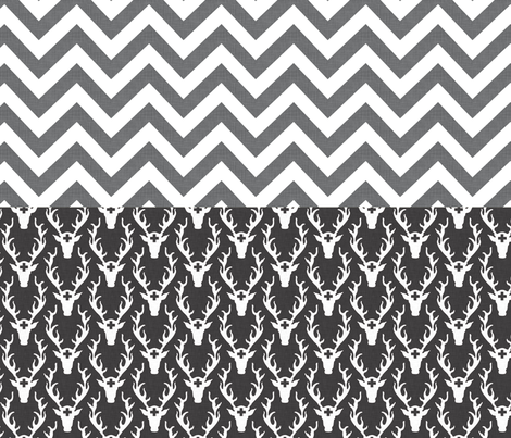 chevron_and_deer_head_full_yard fabric by holli_zollinger on Spoonflower - custom fabric