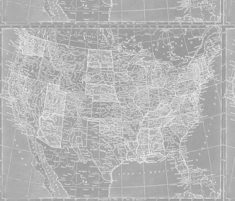 Minimalist Grey and White Map of the United States fabric by aftermyart on Spoonflower - custom fabric