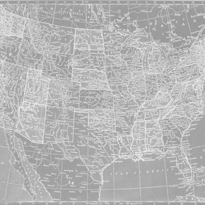 Minimalist Grey and White Map of the United States