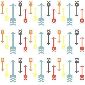 Colorful Fall Arrows - Aqua, Orange, Grey, Yellow, Red