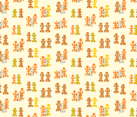 Midcentury Tikis 2a fabric by muhlenkott on Spoonflower - custom fabric