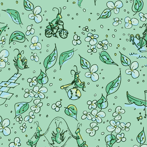 Ditsy Cricket-ed fabric by girlfighter on Spoonflower - custom fabric