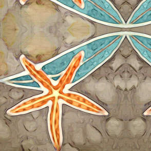 Orange Starfish with Turquoise Kelp