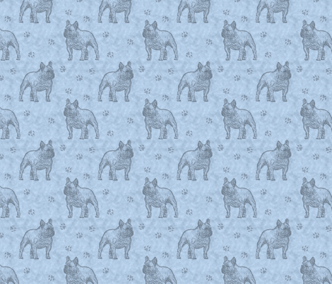 French Bulldog stamp - blue fabric by rusticcorgi on Spoonflower - custom fabric