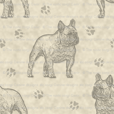 French Bulldog stamp - tan