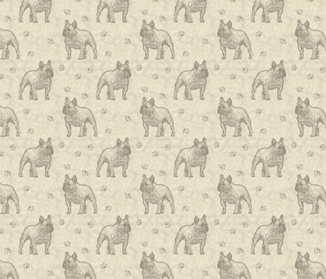 French Bulldog stamp - tan fabric by rusticcorgi on Spoonflower - custom fabric