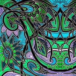 Big Paisley Stained Glass Batik Tangle