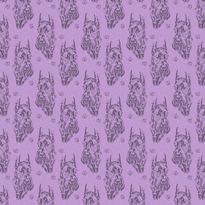 Giant Schnauzer face stamp - purple