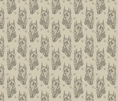 Giant Schnauzer face stamp - tan fabric by rusticcorgi on Spoonflower - custom fabric