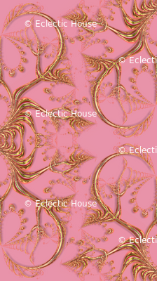 Frilly Fake Gold Hearts on Pink