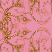 Frilly Gold Hearts on Pink