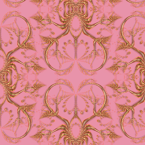 Frilly Gold Hearts on Pink fabric by eclectic_house on Spoonflower - custom fabric