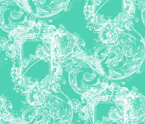 Portofino ~ Aqua and White fabric by peacoquettedesigns on Spoonflower - custom fabric