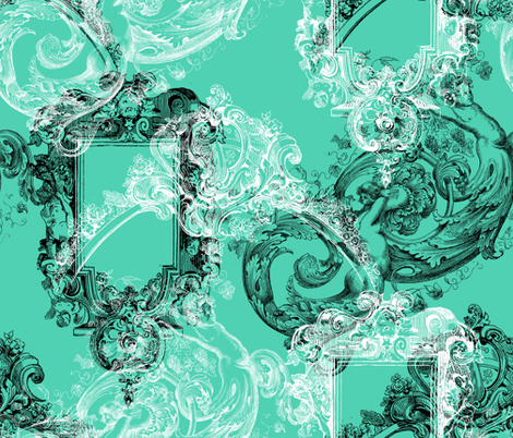 Portofino ~ Aqua, Black and White fabric by peacoquettedesigns on Spoonflower - custom fabric