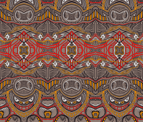 TAIFO 1a - ltBrn, red, gold fabric by mamai on Spoonflower - custom fabric