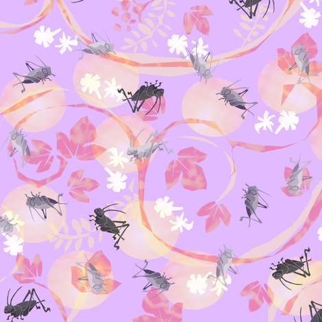 Crickets in violet fabric by ickessler on Spoonflower - custom fabric