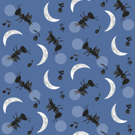 Moonlight Cricket Serenade fabric by arttreedesigns on Spoonflower - custom fabric