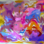Large Print Bright Abstract in Hot pink, Blue, Violet, Orange-ed