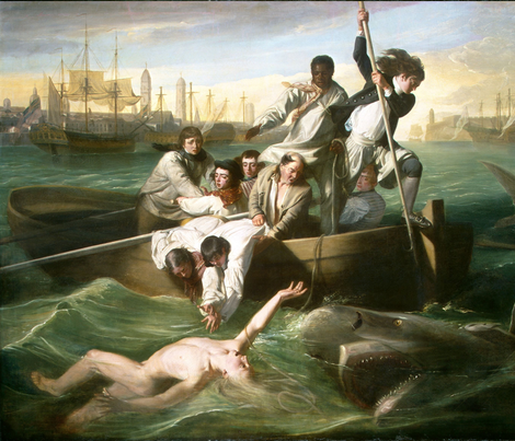 Watson and the Shark - John Singleton Copley  (1778) fabric by studiofibonacci on Spoonflower - custom fabric