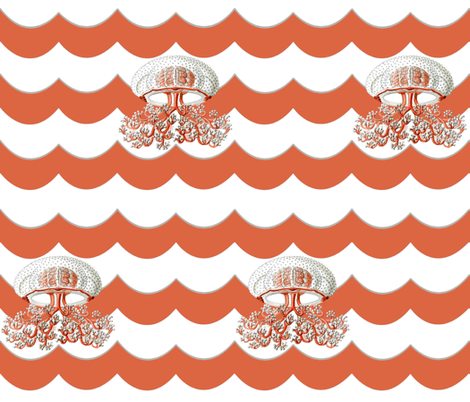 Jellyfish on Red Chevron Wave fabric by sparrowsong on Spoonflower - custom fabric